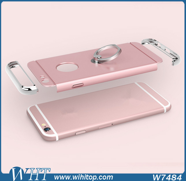3 in 1 Chrome PC Tough Strong Full Cover for iPhone 6s Case,Ring Stand Mobile Phone Case for iPhone 6s(China (Mainland))