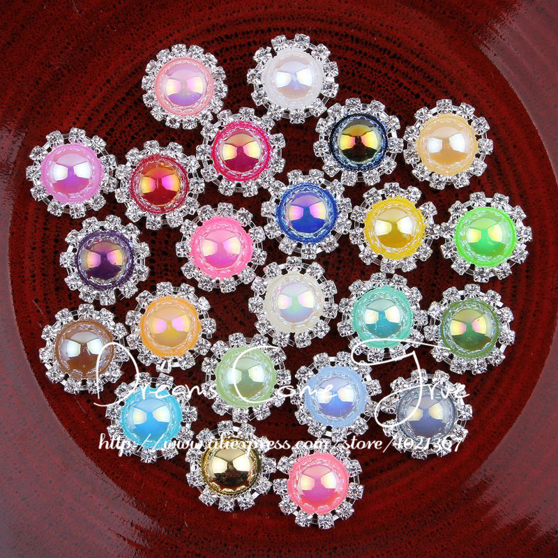 50pcs lot 20mm 23colors metal half ab pearl buttons for for Decorative pins for crafts