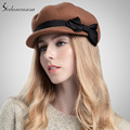 Europe Autumn Winter Women Ladies Newsboy Hat 100 Australia Wool Octagon Cap High Quality Womens Newsboy