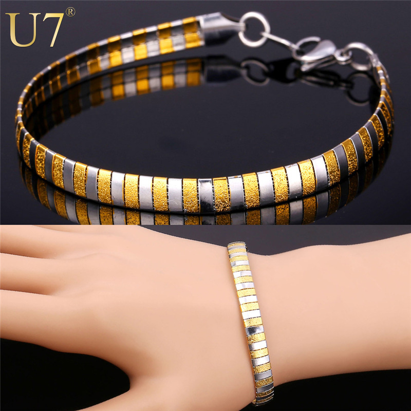 U7 316L Stainless Steel Bracelets For Women /Men Jewelry Fashion 2015 18K Real Gold plated Snake Chain & Link Bracelets H751(China (Mainland))