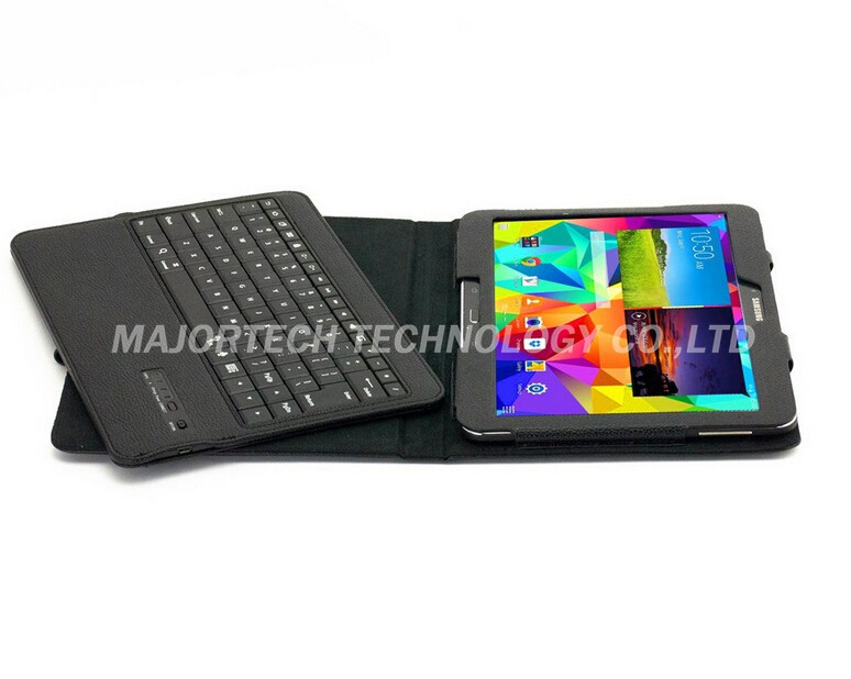 For Samsung Galaxy Tab 4 10.1 T530 T531 Bluetooth Silicon Wireless Keyboard Teclado Stand Tab4 PU Case Cover Black Free Shipping