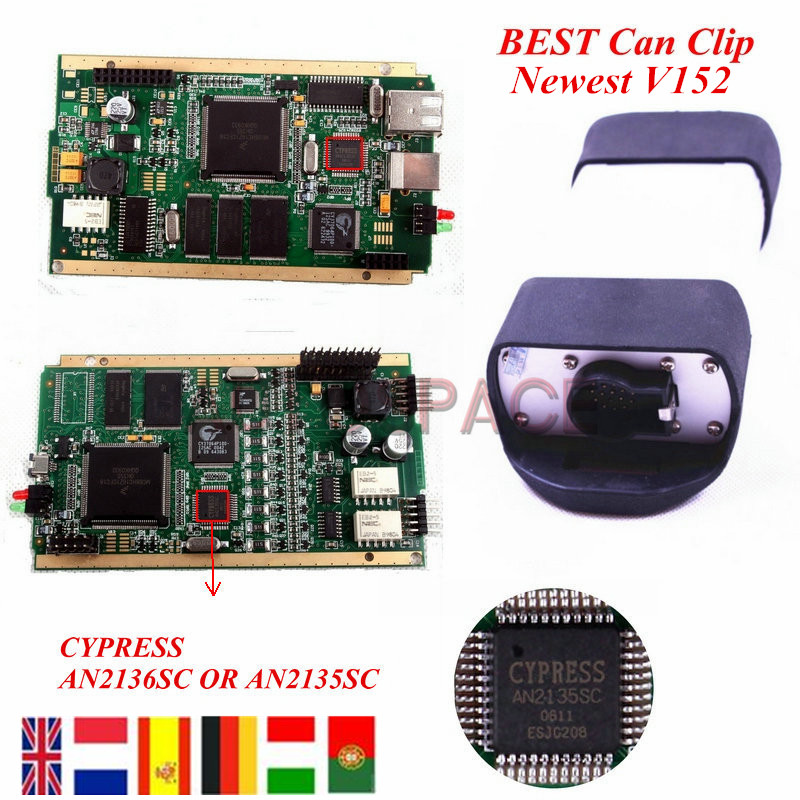 Newest Version Gold PCB Renault Can Clip V156 With CYPRESS AN2135SC/2136SC Chip Quality A+++, better than renault explorer(China (Mainland))