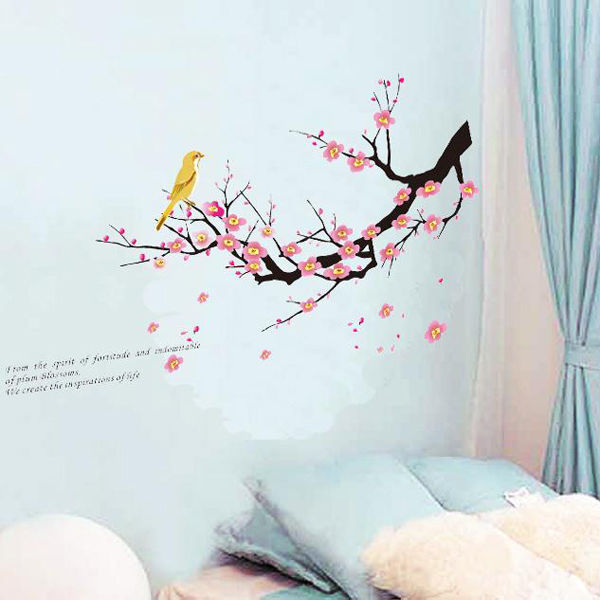 DIY Beautiful Flower Tree Branch Bird Art Vinyl Wall Sticker Decal Living Room Home Decor 45x60CM Super Quality(China (Mainland))