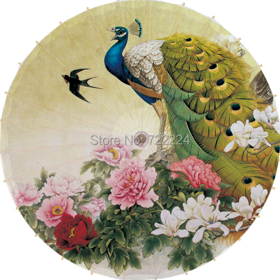Free shipping Dia 84cm chinese handmade peafowl standing in the peony flowers oiled paper umbrella waterproof parasol umbrella(China (Mainland))