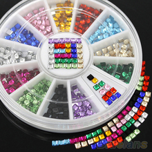 12 Colors 3D Square 3mm Nail Decor Flatback Shiny Rhinestone DIY Nail Tips Wheel