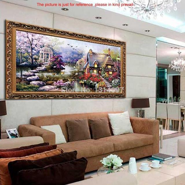 63 x 38 см ручной вышивки крестом вышивка комплект садовый домик дизайн домашнего декора