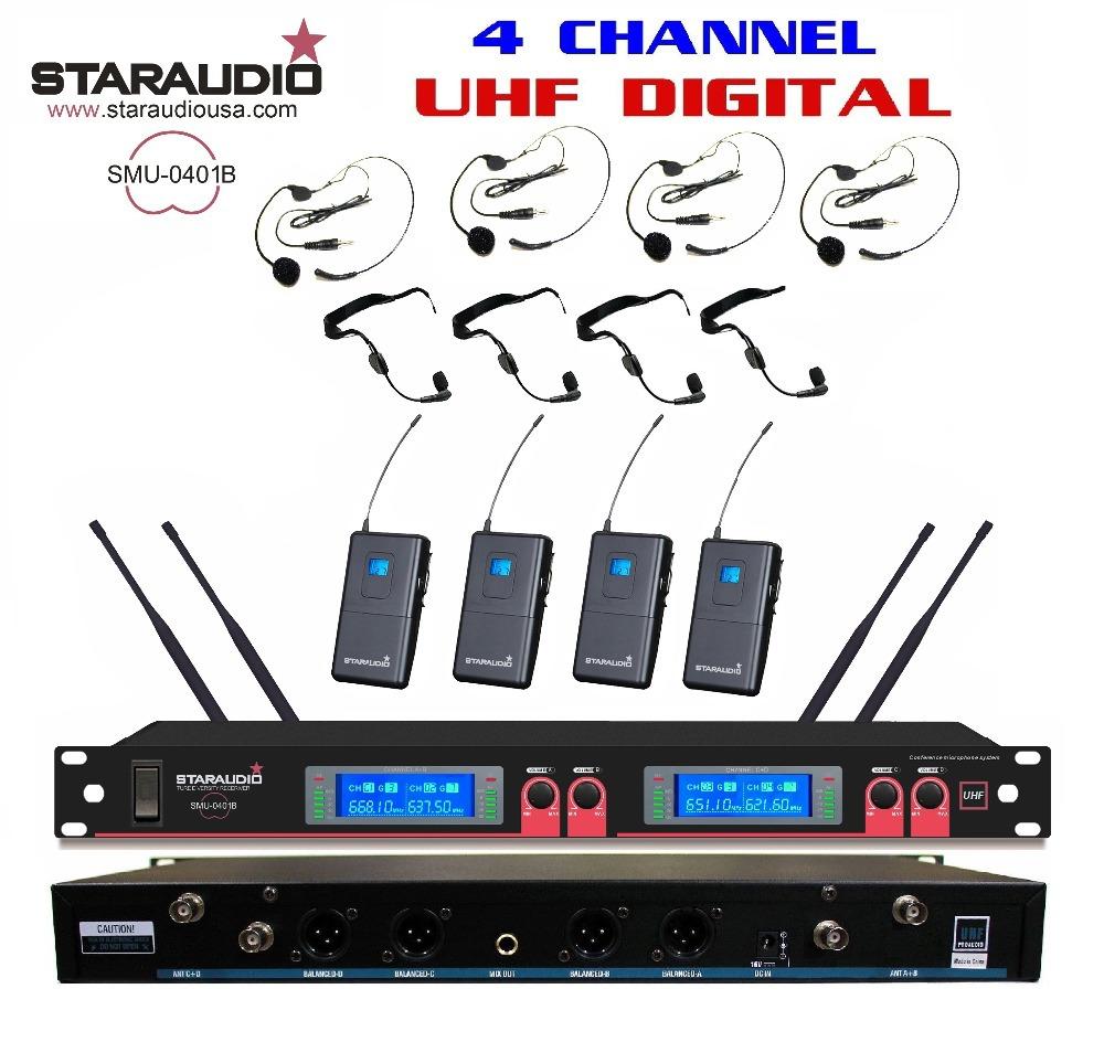 Staraudio Brand new 4 x100Channel Pro PA DJ digital LCD Church UHF Wireless Headset Mic Microphone System SMU-0401B(China (Mainland))