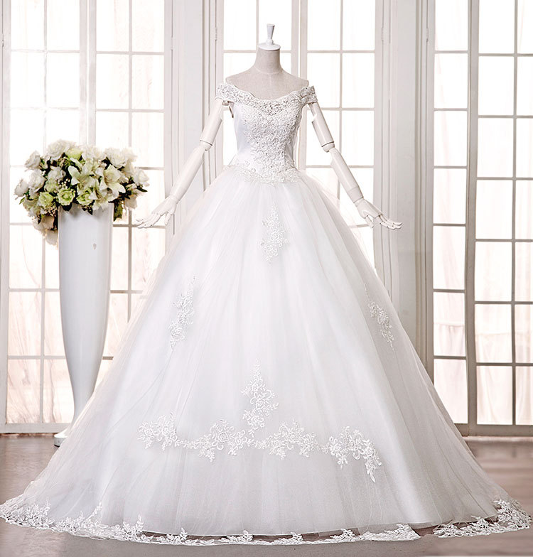 z 2015 new bride wedding dress autumn and winter dress slit neckline white 1.2 m long trailing plus size sexy fashion(China (Mainland))