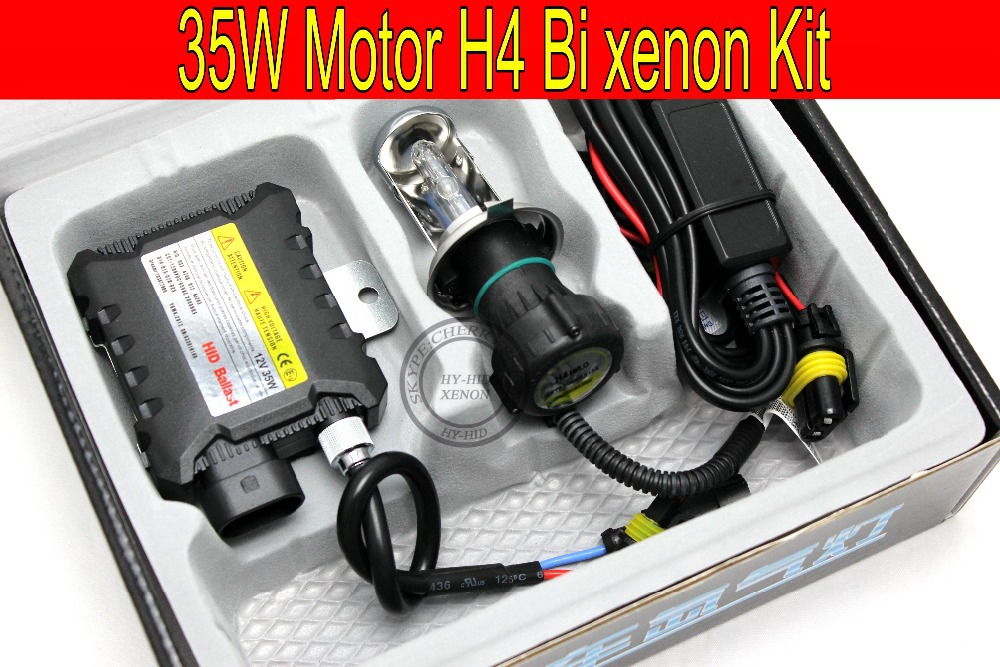Free Shipping 1 set 35W H4 Hi/low Motorcycle bi xenon HID Conversion Kit/Xenon Kit Slim ballast,3000K,4300K,6000K,8000K,10000K(China (Mainland))