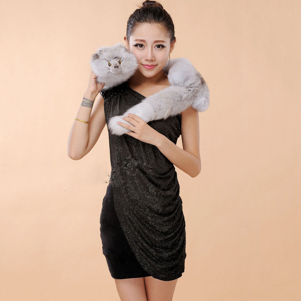 2015 New Fashion genuine real fox fur stole capes wraps natural luxury long collar shawls with tails silver fox fur capes women(China (Mainland))