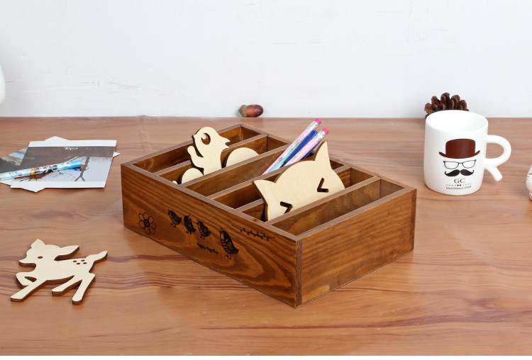 1PC Zakka grocery division retro wooden desktop stationery box to old wooden debris bins 24x17x6.8cm J0922(China (Mainland))