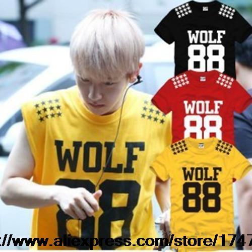 2015 Fashion EXO 5 star printed short sleeve t-shirt wolf 88 hiphop tee shirt K-POP XOXO Growl boy girl t shirt men tshirt GC45(China (Mainland))