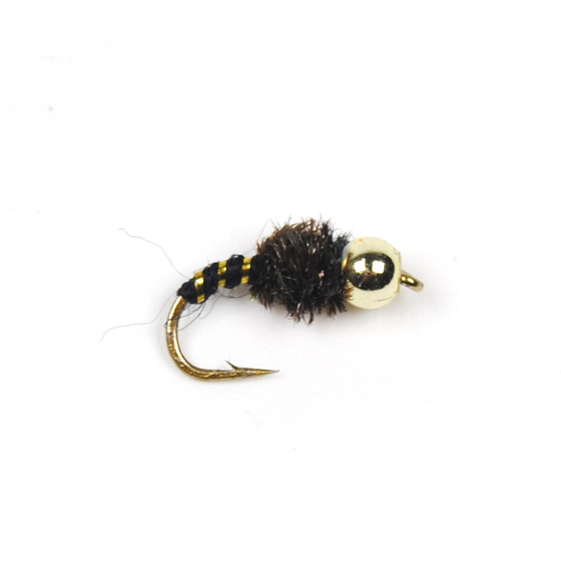 10pcs #14 Bead Head Nymph Trout Fly Peacock Hackle Black(China (Mainland))