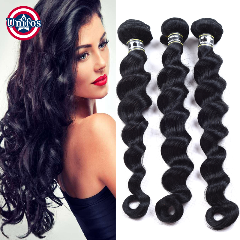 Jet Black Indian Hair Weave Bundles Loose Wave 3 pcs 100 Percent Human Hair Extension10-30 inches  Indian Loose Wave Virgin Hair<br><br>Aliexpress