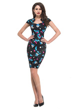 Women Top Fashion Floral Polka Dot 50s Vintage Rockabilly Pinup Cap Sleeve Bodycon Knee Length Casual Pencil Wiggle Dress 007597(China (Mainland))