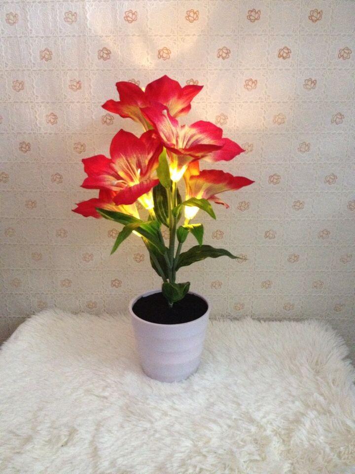 LED flower potted flower simulation simulation of solar light manufacturers(China (Mainland))