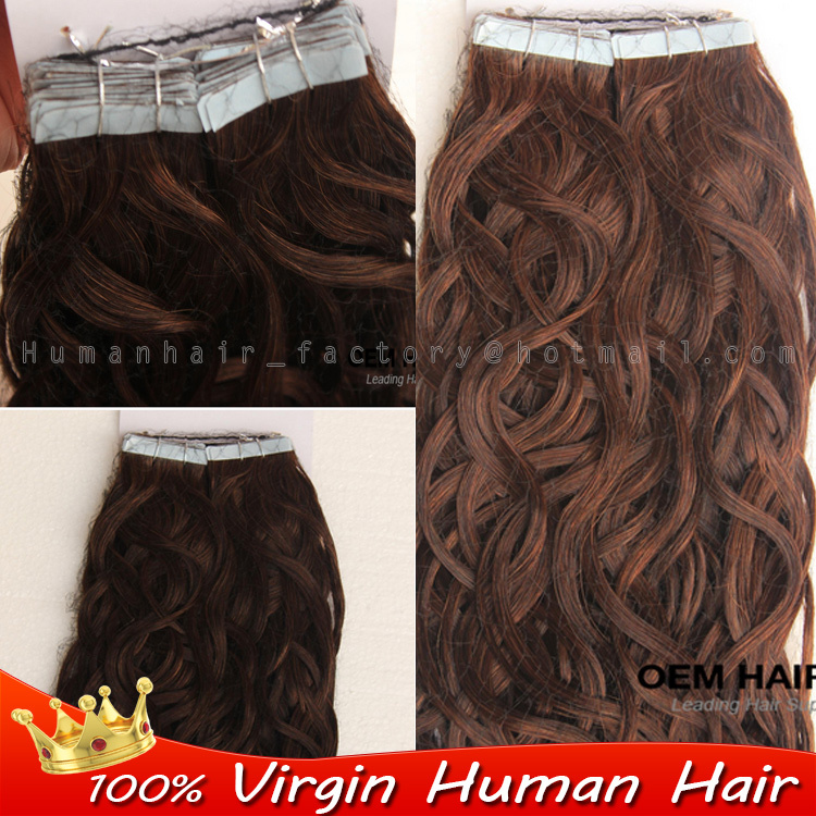 Brazilian virgin human tape hair 40pcs double drawn tape in hair extensions remy #4 Dark Brown Body wave skin weft seamless hair