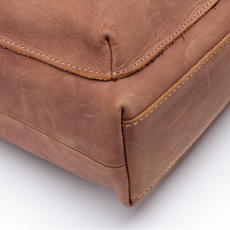 ZLON Europea Men's Crazy Horse Leather Vintage Zipper Ipad Laptop Messenger Shoulder Attache Portfolio Fashion Bag Coffee T104