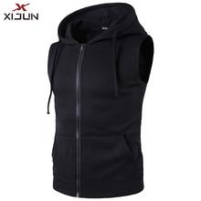 XIJUN Moda sem mangas com capuz Zipper Com Capuz Hoodies dos homens 100% Algodão Primavera Antumn Roupas Sportwear dos homens Colete Preto dos homens(China)