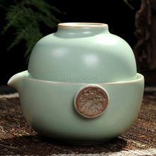 set of 1 porcelain teapot with filter hole 1 porcelain tea cup 2pcs set travel kungfu