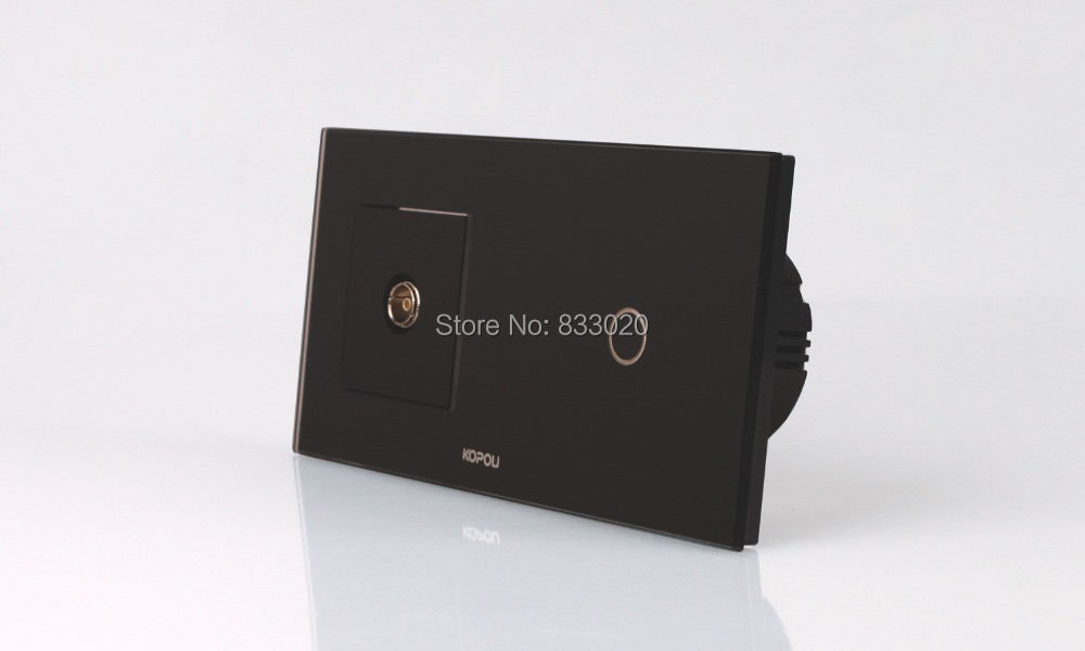 Intelligentialized home black crystal glass touch switch combination+TV output terminal(China (Mainland))