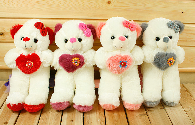 Free shipping 40 cm high popular colorful luminous hold pillow Flash heart teddy bear doll the baby plush toys for kids(China (Mainland))