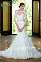 New Fashionable Romantic Lace Vestido de noiva Sexy Sweetheart See Through Mermaid Wedding Dresses Bridal Gowns Custom Made Size(China (Mainland))