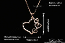 Love Heart CZ Diamond Party Necklaces Pendants Wholesale 18K Rose Gold Plated Fashion Wedding Jewelry For
