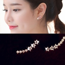 White / Rose gold plated zircon ear cuff earrings for women bijoux 2016 new trendy jewelry wholesale flower design(China (Mainland))