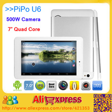 Original PIPO U6 Android 4.2 Tablets RK3188 Quad Core Bluetooth HDMI 1GB RAM 16GB ROM 5MP Camera 7inch 1440x900 IPS Screen(China (Mainland))