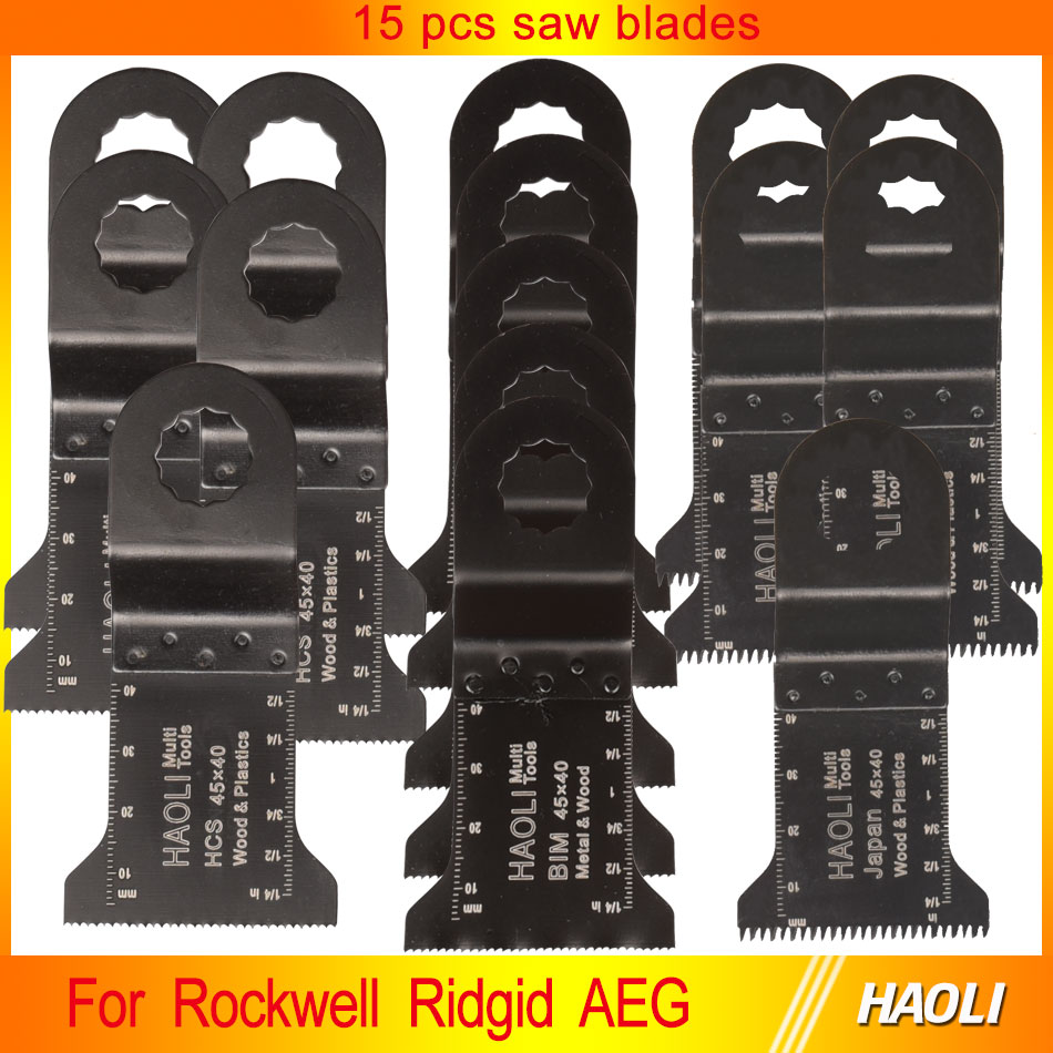 15 pcs Oscillating multi tool Saw Blades Accessories for Rigid Worx AEG Multimaster power tool,wood metal cutting,fein supercut<br><br>Aliexpress