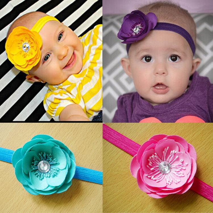 Gum Plaiting Infant Summer Style Hair Accessories Bandana Baby Girl Newborn Girls Rhinestone Headband Flower Photography Props(China (Mainland))
