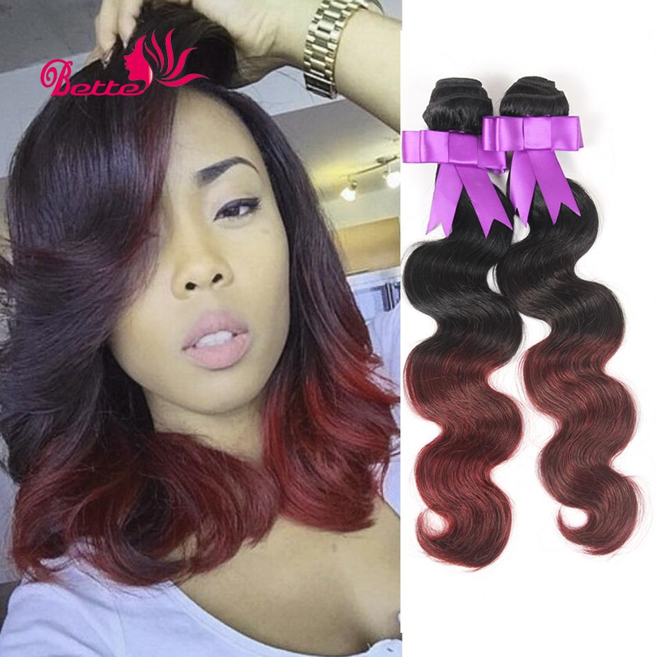 Hot Sale Ombre Hair Extensions Unprocessed Virgin Peruvian Hair Body Wave 3pcs/lot T1B/Burgundy Ombre Human Hair Weave Bundles