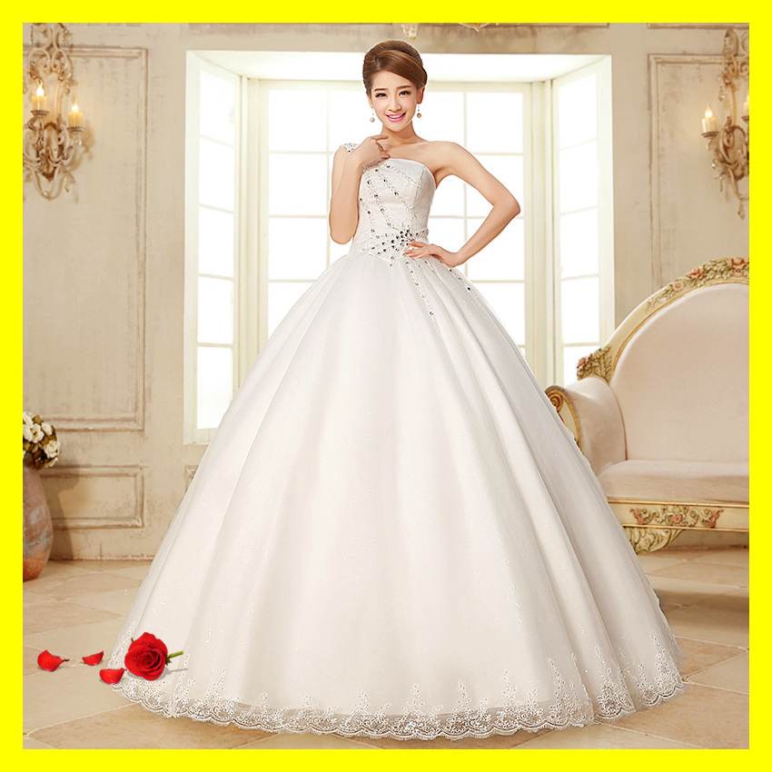 Black Tie Wedding Dresses Courthouse Dress Short Casual White A-Line Floor-Length None Crystal Sweetheart One Shou 2015 In Stock(China (Mainland))