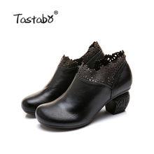 Tastabo cao gót của phụ nữ khởi động Màu Đen nâu phụ nữ giày Thoải Mái giày thường giày Handmade Đặc Trưng hoa thiết k(China)