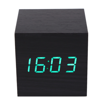 1Pcs Wooden LED Alarm Clock With Thermometer Temp LED Display Electronic Desktop Digital Table Clocks For Gifts