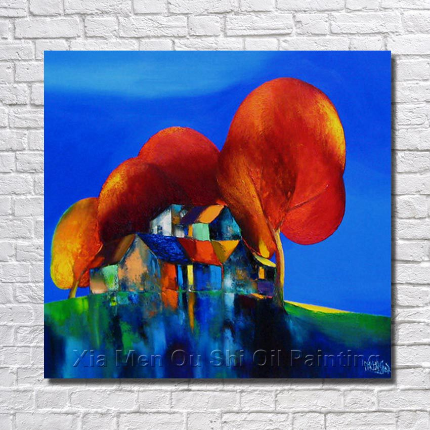 Blue Background 100% Hand Painted Red Tree Landscape Oil Painting Canvas Living Room Decoration Framed Wall Pictures