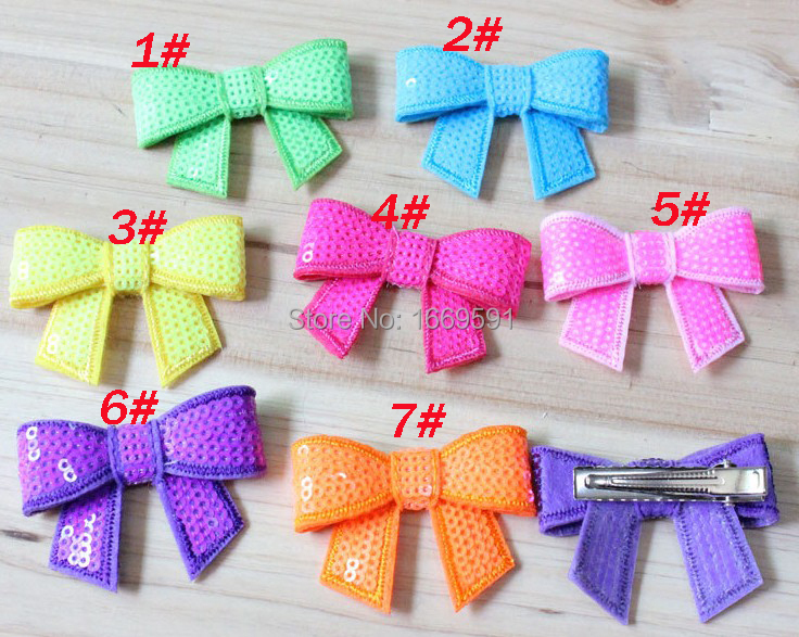 """2"""" neon sequin bows hair clip butterfly neon sequin bows hairpins hair accessories baby hair bows Fluorescent color 100pcs/lot(China (Mainland))"""