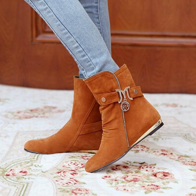 Size 32-43 Russia Winter Warm Buckle Zipper Flock Sequined Women Flat Mid-Calf Snow Boots Cotton Winter Footwear Boot Shoes<br><br>Aliexpress