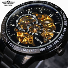 2016 Famous Brand Winner Luxury Fashion Vintage Steel Stainless Black Dial Men Mechanical Skeleton Watch For Men Wristwatch(China (Mainland))