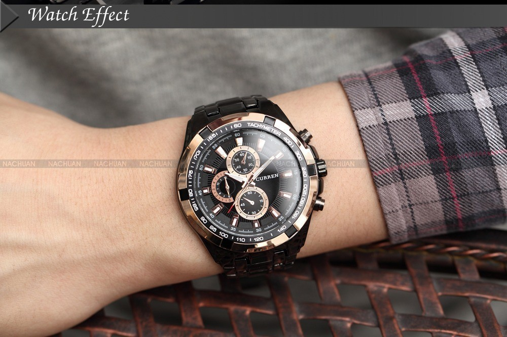 HOT Sell Curren Trendy Luxury Sports Full Steel Men Military Wrist Watch Army Quartz Watches Folding