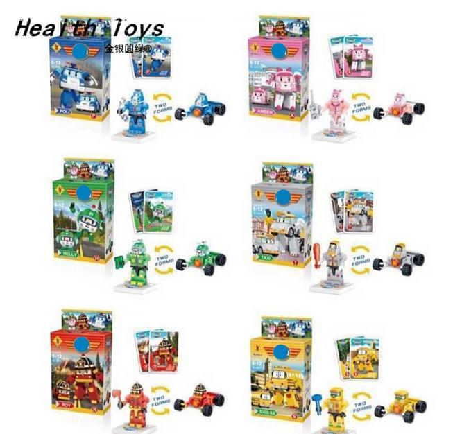 6pcs/lot Robot Amber Roy Taxi Helly School Bus Toys DIY Girl Action Robot Figures Minifigurs Building Blocks 2016 hot(China (Mainland))