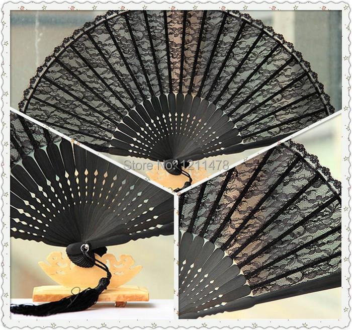 mooie en goedkope zwarte kant hand ventilator voor bruiloft(China (Mainland))