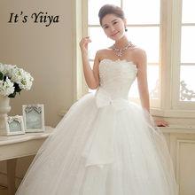 זה YiiYa חתונת שמלת פאייטים מקיר לקיר אורך חתונת שמלות סטרפלס ללא שרוולים Bow תחרה עד נסיכת כלה כדור שמלת HS106(China)