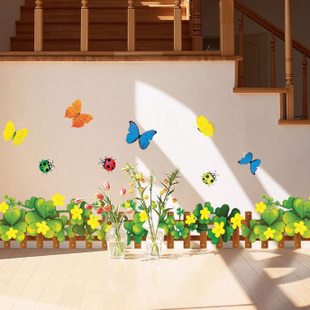 Free Shipping 45*65cm Self Adhesive Wall Stickerspaper Leaf Clover Fence Wall Decor(China (Mainland))