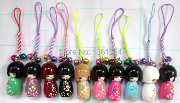 Free shipping LOT 20 Pcs KOKESHI Doll Handbag/ Mobile Phone charms/4.5cm(China (Mainland))