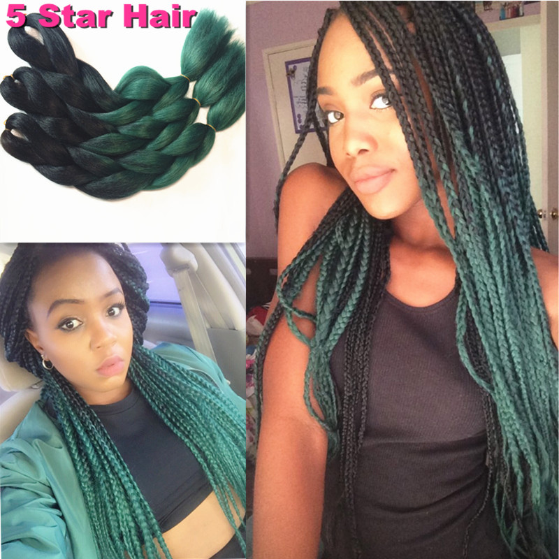 Kanekalon Braiding Hair 5pcs Lot Black Green Ombre Braiding Hair 24 100g Jumbo Box Twist synthetic