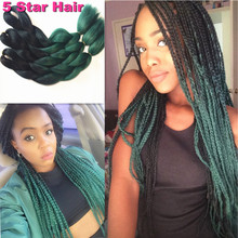 Kanekalon Braiding Hair 5pcs/Lot  Black&Green Ombre Braiding Hair 24″100g Jumbo Box Twist synthetic Hair Extension Braiding Hair