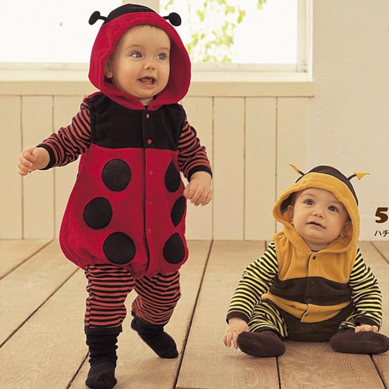 Baby Romper Ladybug Bee Winter Autumn Long Sleeve With Hoodie(China (Mainland))