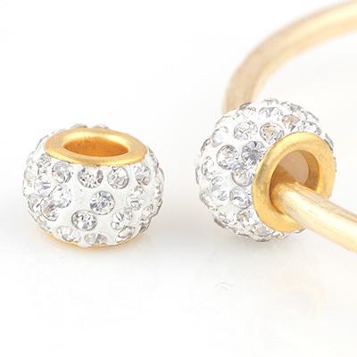 10PCS Rhinestone Beads Round Chamilia DIY Spacer European Murano Troll Czech Bead Charm Fit For bracelet pandora 18K Gold(China (Mainland))